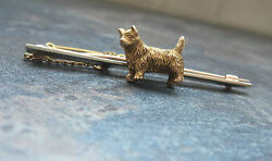 9ct White & Yellow Gold Dog Brooch - West Highland Terrier  Westie  c.1910  20