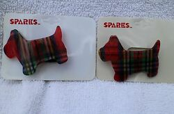 Vintage New Old Stock 2 Scottie Dog Terrier Lucite Elastic Hair Ties Set Retro