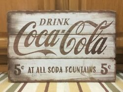 Drink Coca Cola Wooden Sign Vintage Style Soda Fountain Bottle Cap Crate Machine