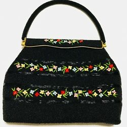 VINTAGE 1960 HAND EMBROIDERED & GLASS BEADED SEQUIN FRAME PURSE HONG KONG