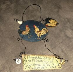 Vintage Primitive Wood Sign Chickens Quote Buttons