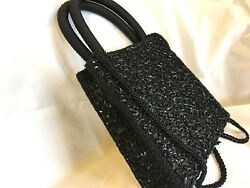 Vintage Black Beaded Sequined Satin Evening Bag Handles & Shoulder Strap EUC