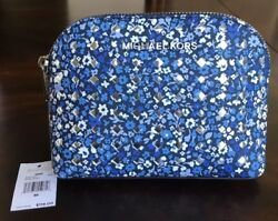 Michael Kors Emmy Navy Floral Leather Travel Pouch Cosmetic Case Makeup Bag NWT