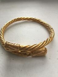 Rare Egyptian Authentic Stamped 21k Solid Yellow Gold 21 Gm Cobra Snake Bracelet