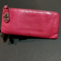 Reed Krakoff Leather T Pin Turnlock Wallet Clutch Berry $89.00