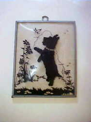 VINTAGE SILHOUETTE..SCOTTISH TERRIER (SCOTTIE)..CONVEX GLASS..WRAP AROUND FRAME