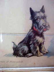 VINTAGE PRINT..SCOTTISH TERRIER (SCOTTIE) WITH POEM..FRAMEDSIGNEDDATED 1942