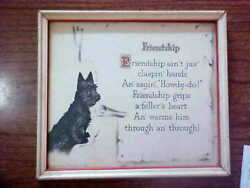 VINTAGE PRINT..SCOTTISH TERRIER (SCOTTIE) WITH POEM..FRAMEDSIGNEDDATED 1926