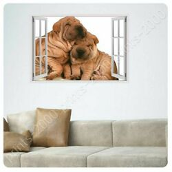 Friendship Between Dogs by Fake 3D Window  Poster or Wall Sticker Decal  Wall