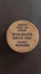 Vintage Wooden Nickel Sno-white Drive Inn. Very Old Small Size 1.25 Diameter