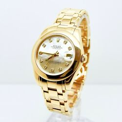 Rolex Datejust Pearlmaster 81208Box and Papers 34mm MOP Diamond Dial Masterpiece