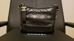 CHANEL Gabrielle Aged Calfskin Quilted Hobo Bag Black SMALL! 100% Authentic!