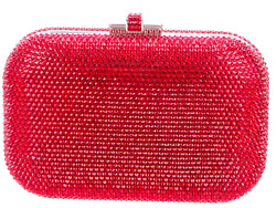 Judith Leiber Orange Red Silver Tone Slide Lock Evening Bag Clutch Crystal NEW