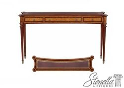 L43225 Inlaid Burl Walnut Narrow Console Hall Table W Tooled Leather Top New