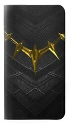 W3246 Black Panther Gold Necklace Flip Case for IPHONE Samsung ETC