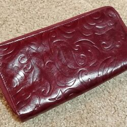 Hobo Neci Bordeaux Double Zip Around Leather Embossed Wallet NWT Vintage RARE