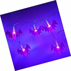 YSJ Battery Operated Halloween Bat String Lights with 20 Purple LEDs for Hall...