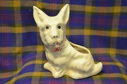 Vintage White SCOTTIE TERRIER Pottery Planter wCold Painted Features