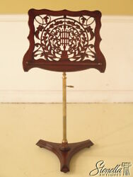L38897 Pierced Mahogany And Brass Federal Style Adjustable Music Stand New