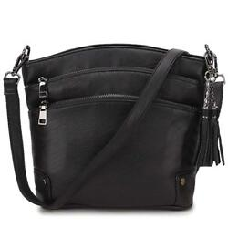 Crossbody Purse For Women Faux Leather Tassel Shoulder Bag for Girls with 2 R...