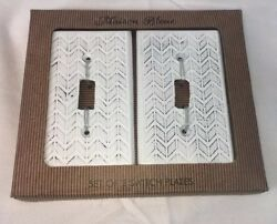 2 Maison Bleue Light Switch Cover Plates Distressed White Shabby Chic Farmhouse