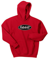 Peterbilt Hoodie Sweat Shirt Pullover Jacket Truck Rig Tractor Semi Red Blue Pin