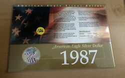 1987 Painted American Eagle Silver Dollar in Collectors Card