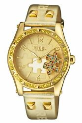 Rebel Women's Rb111-9101 Gravesend Crystals Puzzel-piece Dial Gold Leather Watch