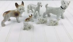 Japan Vintage French Bulldog Borzoi Mixed Lot Figurine Ceramic Dogs