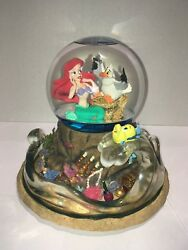 """Rare Disney's The Little Mermaid Music Snow Water Globe """"part Of Your World"""