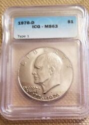 3- 1976 Eisenhower Bicentennial Dollar Type 1 And Type 2 Ike 3 Coins