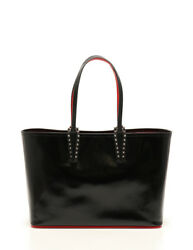 Christian Louboutin Cabata tote bag enamel leather black spike studs