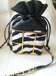 Black and White Zebra Design Fur and Faux leather Bucket Bag