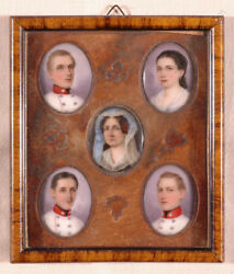 Richard Schwager- Five Portraits Of A Family Miniatures On Porcelain Ca.1850