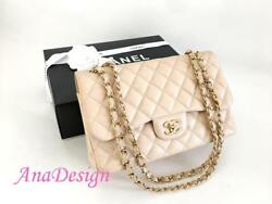Chanel Classic Jumbo Beige Caviar Double Flap Bag GHW wAuthenticity Certificate