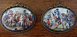 Two Antique Very Rare Plaques Of Napoleon In Battles On Porcelain And Bronze Frame