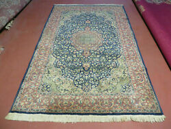 5and039x7and039 Vintage Hand Made Pakistani Floral Wool Rug Carpet Highly Detailed Nice