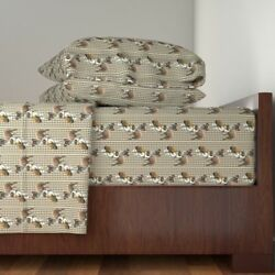 Boxer Dogs Paws Pawpriints Dog Breed Fabric Cotton Sateen Sheet Set by Roostery