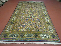 5and039 X 8and039 Hand Made Knotted India Floral Wool Rug Mehrab Writing One Of A Kind Wow