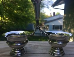 Sterling Silver 800 Vintage Double Salt And Pepper Holder Small Cellar -antiques