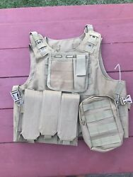 Tan Plate Carrier And Molle Pouches New