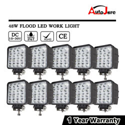10x 48W LED Work Light Flood Headlight Driving SUV JEEP Offroad pickup Boat 12V
