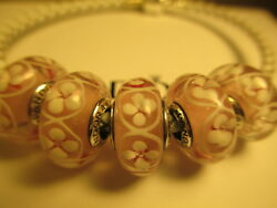 5 Pandora Silver 925 Ale Pink Field Of Flowers Daisy Glass Murano Beads Charms