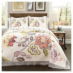 Lush Decor Aster Quilt Bedding Set & Pillow Shams Coral  Navy 3 pc Floral KING