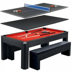 Combo Game Table Black 7ft Pool Table With Table Tennis Conversion Top 2 Benches