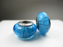 2 Authentic Pandora Silver 925 Ale Turquoise Blue Glass Looking Beads Charms New
