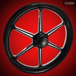 2000-2020 Harley Black Contrast 23 Inch Front Wheel And Floating Rotors Malice