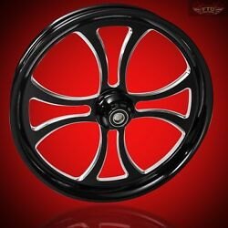 2000-2020 Harley Black Contrast 23 Inch Front Wheel And Floating Rotors Maltese