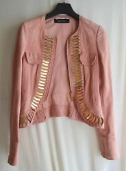GUCCI Couture Salomon Pink Suede Fitted Leather  Jacket Gold Metal Deco Size 36