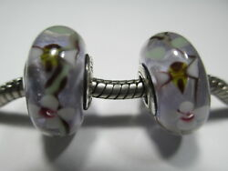 2 Pandora Silver 925 Ale Flowers Garden And Bees Glass Murano Charms Beads 797014